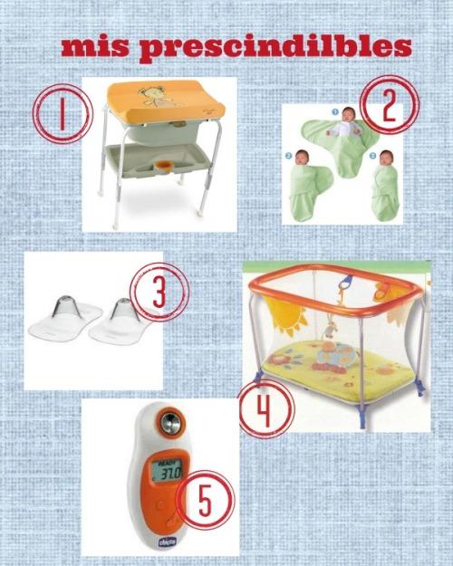 mosaico de prescindibles: bañera cambiador, manta para liarlos, pezoneras, parque, termometro de frente