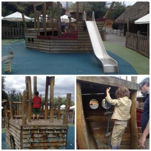Un gran barco pirata sirve de descanso en la visita a este parque